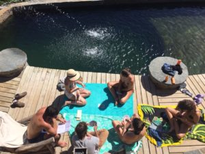 Card game at the pool