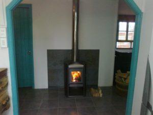 Fireplace at Cabaña Bosque